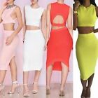 Sexy Women Cutout Backless Cropped Tank Top Vest Blouse+High Waist Bodycon Skirt