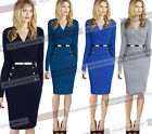 Womens Autumn Elegant Faux Wrap Ruched Belted Business Casual Sheath Dress 1362