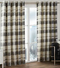 Balmoral Check Tartan Woven Cotton Eyelet Ring Top Lined Curtains, Slate Grey