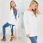 Womens Autumn Long Sleeve White Casual Wings Blouse Loose Cotton Tops T Shirt