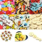 50-100Pcs Mixed Colours Wooden & Resin Buttons Fit Scrapbook Sewing Craft DIY