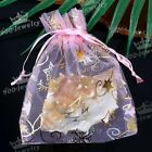 10/100pcs Pink Organza Favour Star Xmas Tree Christmas Jewelry Pouch Gift Bag