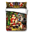 Santa Claus Queen/King Size Bed Quilt/Duvet Cover Set Linen 100% Linen Red Xmas