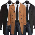 Men Outwear Trench Pea Coats Double Breasted Long Parka Jacket Overcoat XL/L/M/S