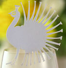 Pearlescent Peacock wedding favor mark wine glass cards table name card lasercut