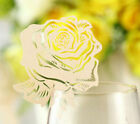 Pearlescent rose wedding favor mark wine glass cards table name card laser cut