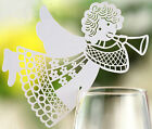Pearlescent Angel wedding favor mark wine glass cards table name card laser cut