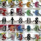 1pc 925 Sterling Silver 5-rows Crystal European Bead Fit Charm Bracelet Big Hole