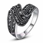 Fashion Mercasite Crystals Cluster Ring Wedding Women's Gift R254R693