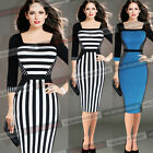 Womens Elegant Square Neck Optical Illusion Striped Wear to Work Slim Dress 1366