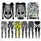 Womens Skeleton Bat Halloween Party Body Suit Mini Dress Legging Sweatshirt Plus