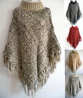 Women's Poncho Batwing Style Cable Knit Top Cape Cardigan Sweater Coat Outwear