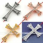 1x Curved Side Ways Crystal Crown Cross Bracelet Connector Jewelry Finding Bead
