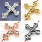1x Side Ways Crystal Cross Connector Charms Findings Spacer Bead For Jewelry DIY