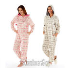 Ladies Fairisle Hooded Fleece Onesie Grey Pink All In One Size 10,12,14,16,18,20
