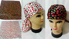 Silky Scarf Bandana Bandanna Cherries Cherry Print 53 x 53cm Black Or White
