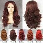 "24""Front lace long wavy purple dark red brown synthetic fashion cosplay wig."