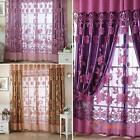 Modern Floral Tulle Voile Door Window Curtain Purple Drapes Sheer Panel Drapes