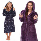 Ladies Womens Dressing Gown Bath Robe Wrap Hooded Hood  STARS Fleece 34b257