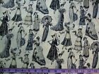 VICTORIAN LADIES - GREY LADIES ON CREAM 100% cotton patchwork fabric
