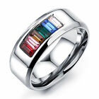 6-11# colorful stones With Stainless Steel Smooth Band Ring Women Men's Jewery