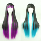 Anime Wavy Curly Straight Cosplay Party Sexy Girls Full Wig Violet/ Blue/Black