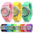 Ladies Women Girl Geneva Silicone Quartz Golden Crystal Jelly Gel Wrist Watch