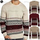 New Men's Jumpers Pullover Crew Neck Style Fairisle Knitted Sweater Knit Tops