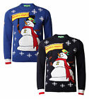 Christmas Jumpers New Novelty Knit Sweater HoHoHo Merry Xmas White Snowman