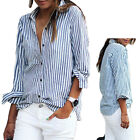 Women Casual Stripe Button Down Stand Collar Blouses T-Shirt Top Shirt