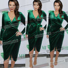 Womens Celeb Elegant Wrapped Velvet Belted Wear to Work Party Bodycon Dress 048