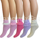 Girls Ladies Lace Top Trimmed Frilly Plain Childrens Ankle School Socks Dance