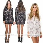 Summer Womens Sexy Lace Floral Bandage Party Evening Cocktail Mini Dress