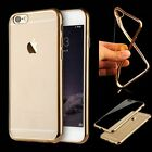 Soft Silicone/Rubber Case Plating Frame Clear Back Cover For iPhone 6 6S Plus