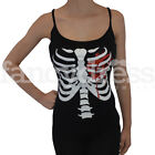 Ladies Women New Black Stretch Skeleton Print with Bloody Heart Fancy Dress Bone