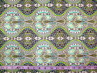 SAFAVID - TURQUOISE AND GREEN PAISLEY BULBS ON GREY 100% cotton patchwork fabric