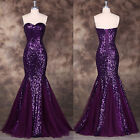 Sequins Bling Mermaid Long Formal Evening Gown Party Cocktail Prom Wedding Dress