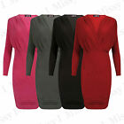 Womens Ladies Wrap Over VEE Side Gathered Ruched Stretch Bodycon Party Dress