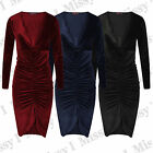 Womens Celebs Style Velvet VELOUR Plunge Neck Ruched Midi Bodycon Party Dress