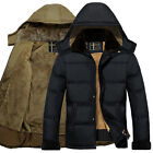 MEN'S WARM WINTER COAT THICKEN FLEECE LINED HOODED JACKET OUTWEAR PARKA OVERCOAT