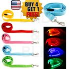 LED Light up Dog Pet Night Safety Bright Flashing Adjustable Nylon Leash