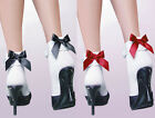 79125-Sexy White Ruffle Lace Red or Black Bow Detail Ankle Socks Fancy Dress