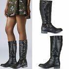 LADIES WOMENS OVER THE CALF KNEE HIGH LOW FLAT HEEL RIDING BOOTS SHOES SIZE