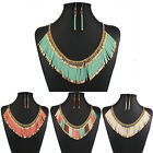Fashion Bohemia Resin Tassel Bib Statement Chain Choker Collar Pendant Necklace