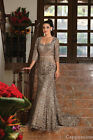 CLASSY MOTHER of THE BRIDE GROOM LACE EVENING GOWN CHURCH 3/4 SLEEVES PLUS SIZE