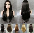 "24"" Front lace long straight side parting blonde golden black synthetic wig.HOT"