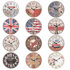 34cm Large Round Wooden Wall Clock 12 Designs Vintage Retro Chic Shabby Retro