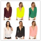 Autumn Women Casual Lady Sexy V Neck Long Sleeve Zipper Top Shirts Solid Tops