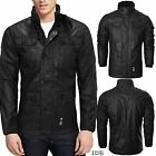 MENS CROSSHATCH FULL ZIP JACKET DOUBLE LAYER PADDED BUTTON WINTER WARM COAT NEW