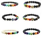Men Women 7 Stone Chakra Lava Rock Turquoise Prayer Bead Mala Bangle Bracelet